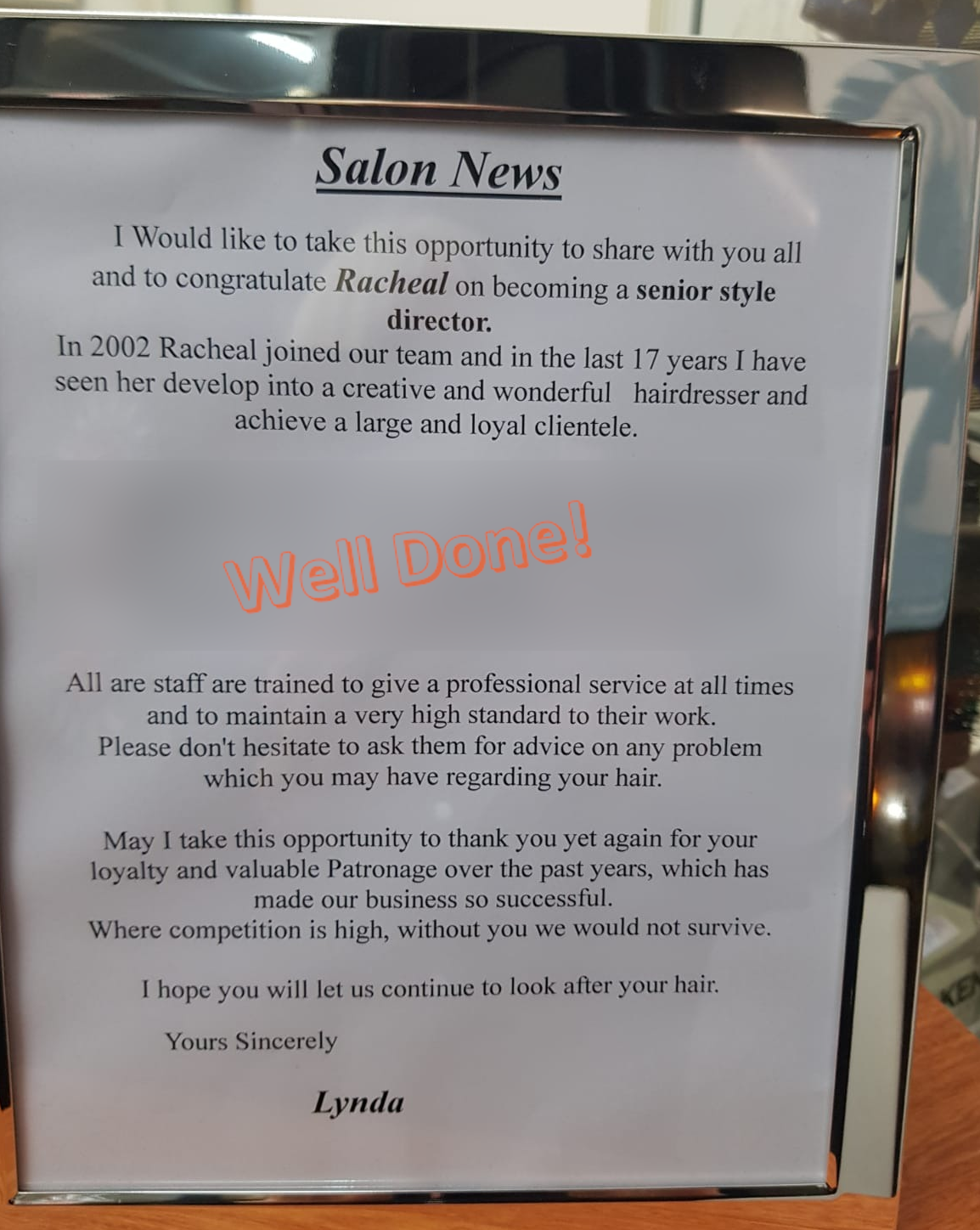 Notice for the promotion of Racheal to Senior Style Director at the Edge Hair Salon in South Liverpool